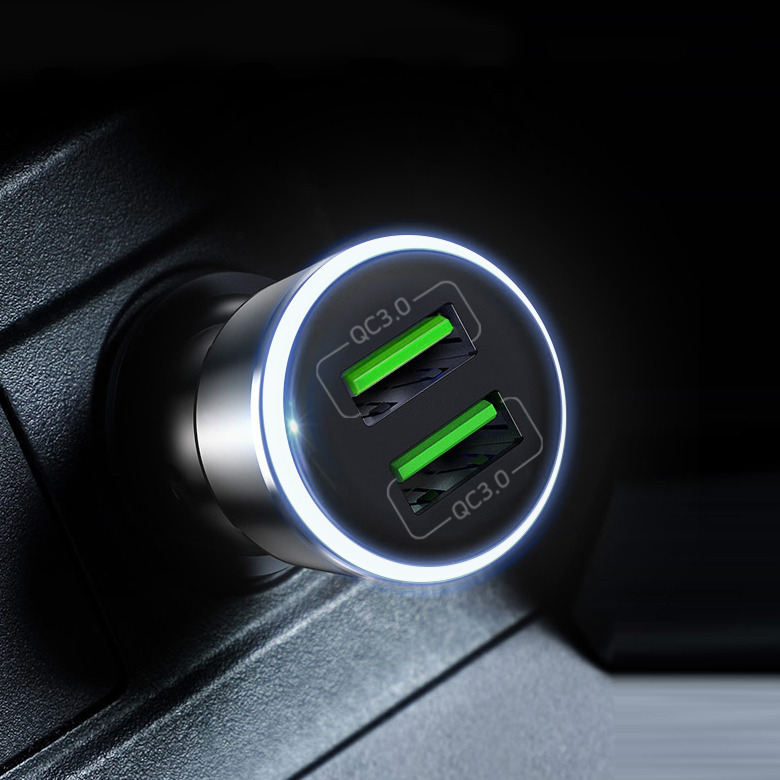 홈플래닛 퀄컴QC3.0 차량용 시거잭 고속충전기, 메탈실버, FP6601Q-2(2포트 36W)
