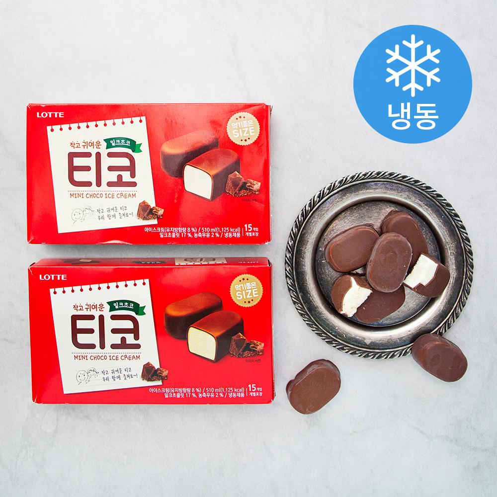 롯데제과 티코 밀크초코 아이스크림 15개입 (냉동), 510ml, 2개