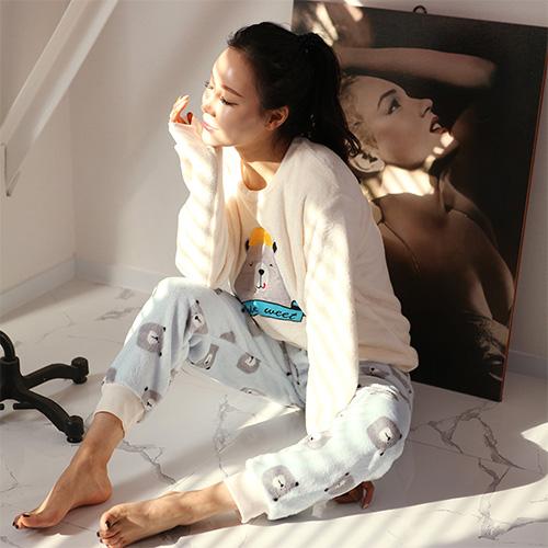 글램공감 여성용 윙크베어 투피스 긴팔 수면잠옷 세트