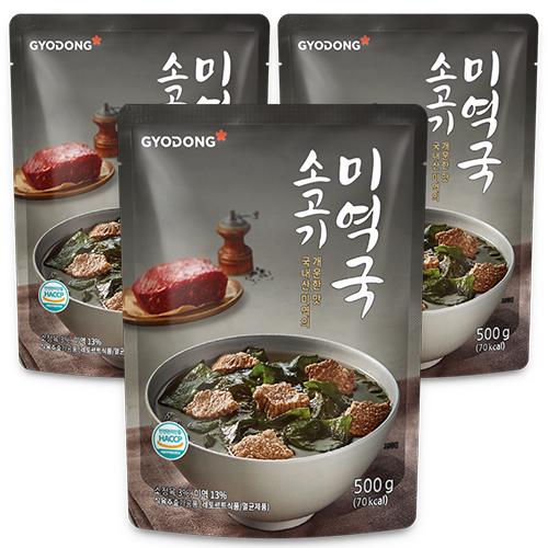 교동식품 소고기 미역국, 500g, 3개입