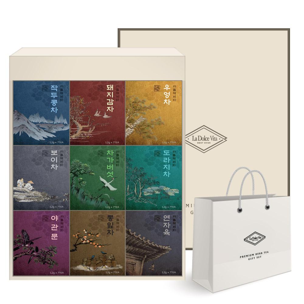 라돌체비타 프리미엄 전통차 선물세트 + 쇼핑백, 9종, 1세트