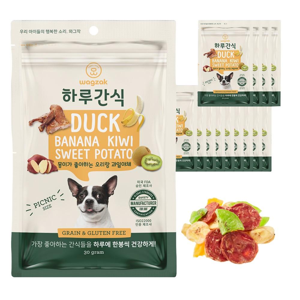 와그작 강아지 하루간식, 오리 + 고구마 + 키위 + 바나나 혼합맛, 14개입
