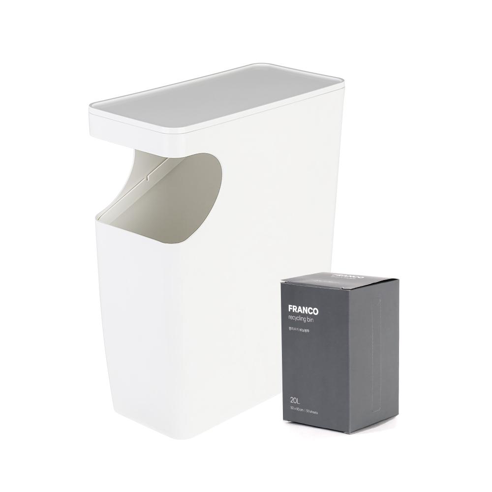 프랑코 사이드 테이블 휴지통 20L + 비닐봉투 20L x 50p, 화이트, 1세트
