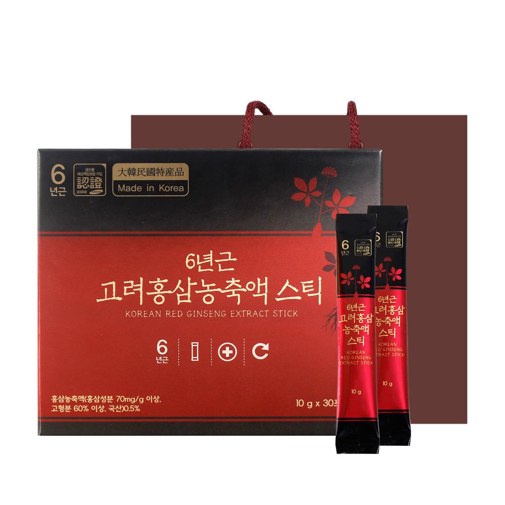 정원삼 6년근 고려홍삼 농축액 스틱 + 쇼핑백, 10g, 30개입