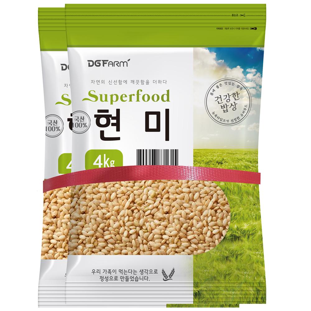 건강한밥상 국산 현미, 4kg, 2개