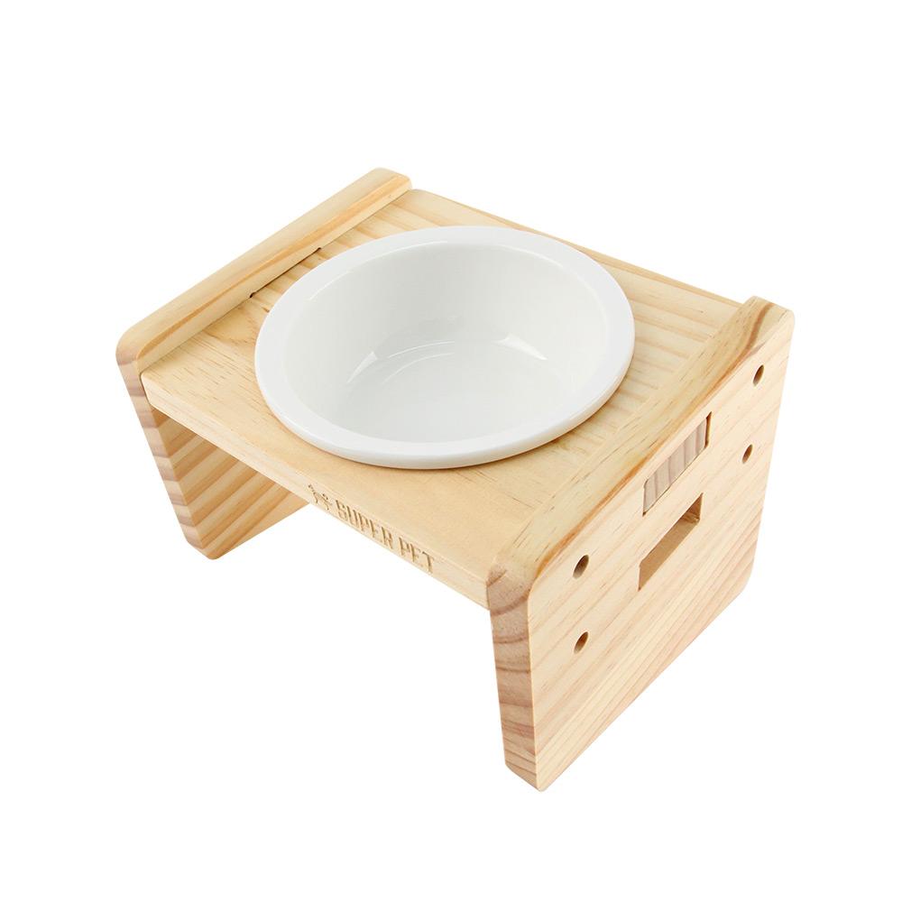도그아이 강아지 고양이 프리미엄 우드 식기 1구 식탁 + 도자기 그릇 세트, 1세트