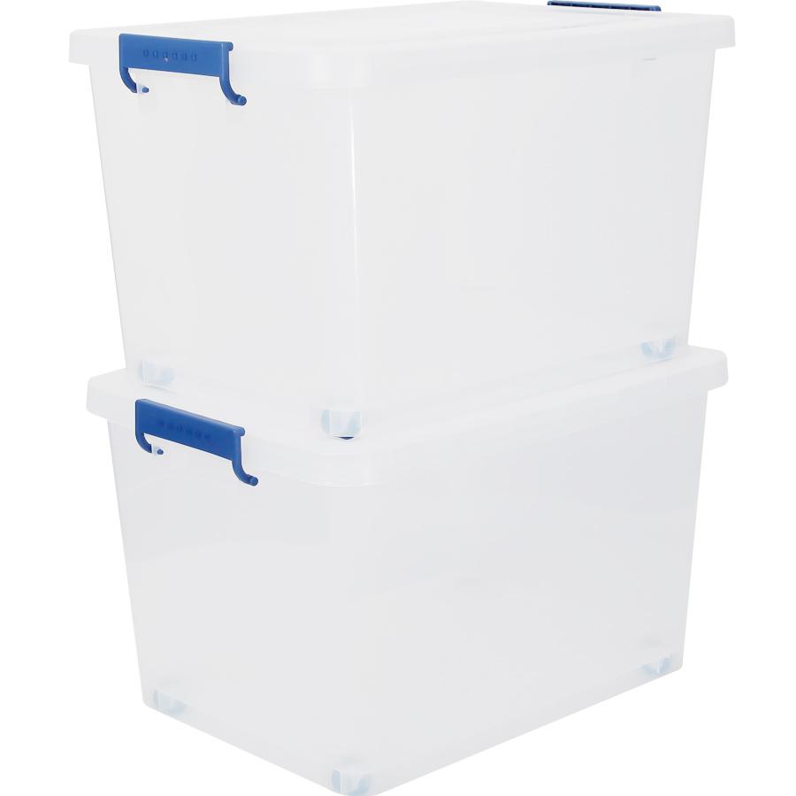 엔플라스틱 클라스 리빙박스 120L, 몸통(반투명) + 손잡이(블루), 2개