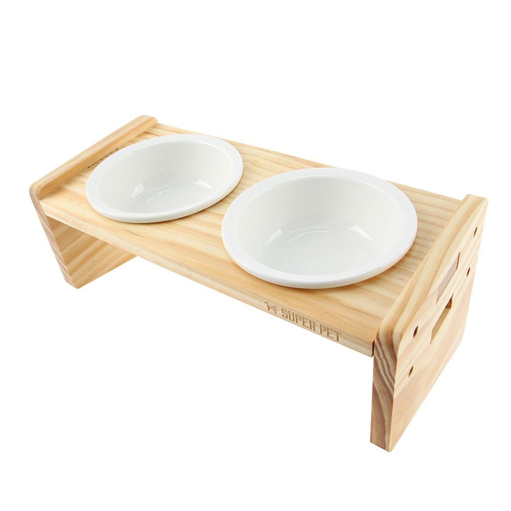 도그아이 강아지 고양이 프리미엄 우드 식기 2구 식탁 + 도자기 그릇 2p 세트, 1세트