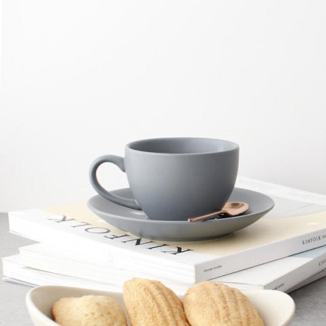 체리하우스 에크렌 커피잔 1인 세트, 그레이블루, 1세트