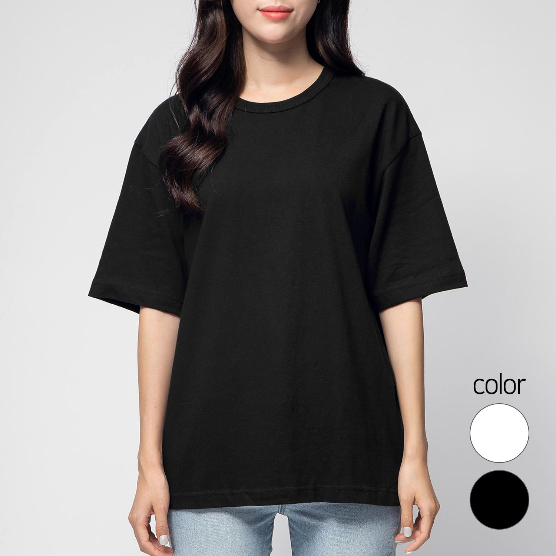 캐럿 남녀공용 릴렉스 핏 프리미엄 크루 넥 티셔츠