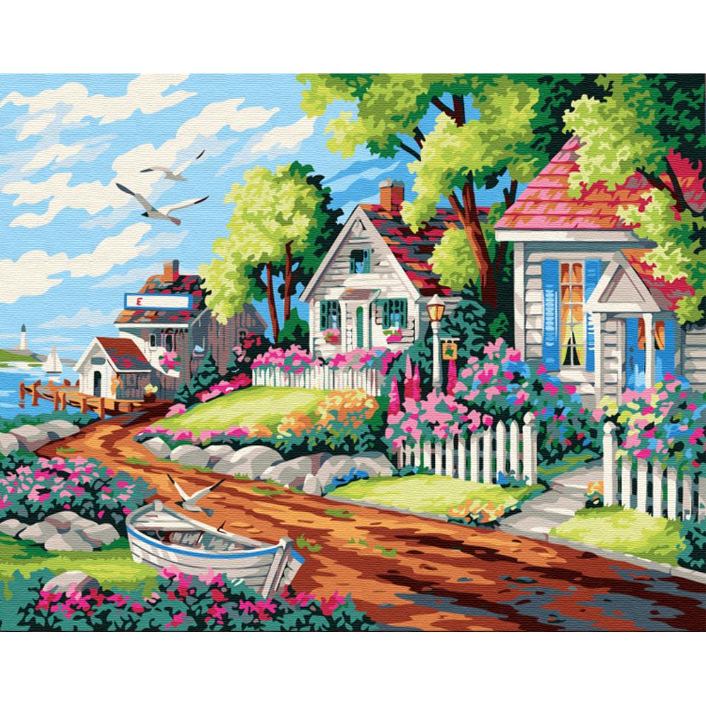 아트조이 DIY 명화그리기 키트 가로형 50 x 40 cm, 해변가마을 2