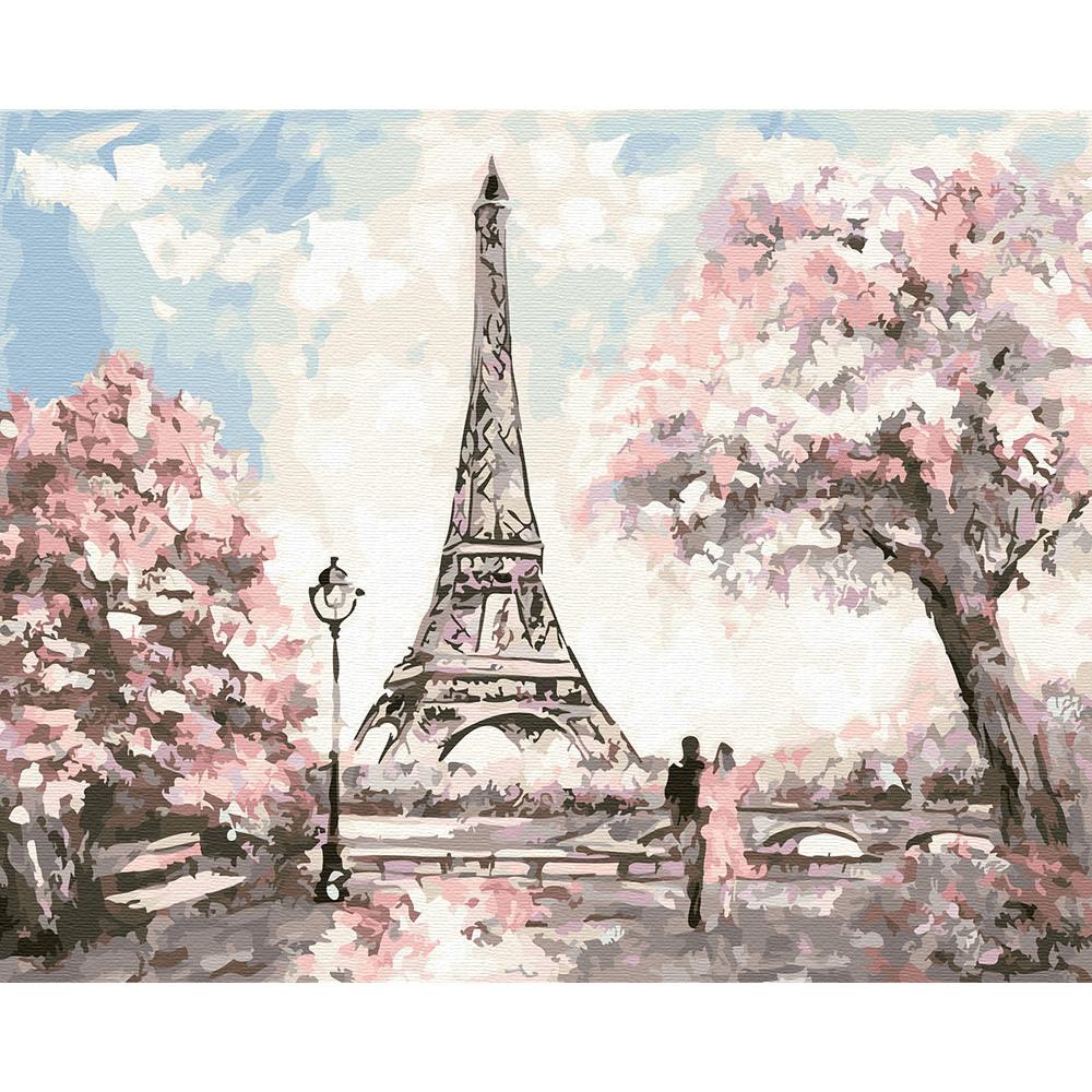 아트조이 DIY 명화 그리기 세트 40 x 50 cm, 봄에 물든 에펠탑