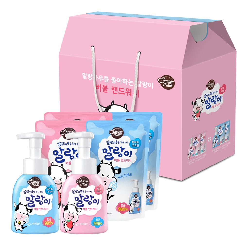 샤워메이트 말랑카우 핸드워시 화이트우유향 300ml + 리필 250ml x 2p + 딸기우유향 300ml + 리필 250ml x 2p 세트, 1세트