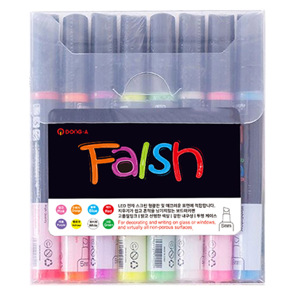 Falsh 형광 화이트 블랙 보드마카펜 8색 세트, 빨강, 주황, 분홍, 노랑, 초록, 하양, 보라, 파랑, 1세트