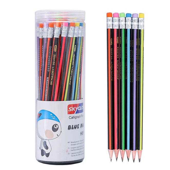 스카이글로리 삼각 지우개 연필 SG-208, 혼합색상, 48개