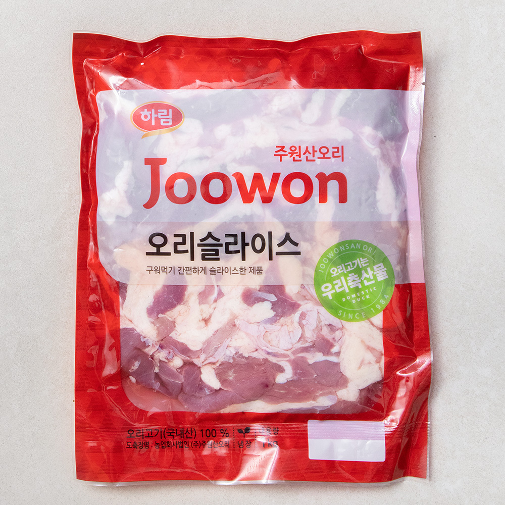 주원산오리 슬라이스 (냉장), 1kg, 1팩