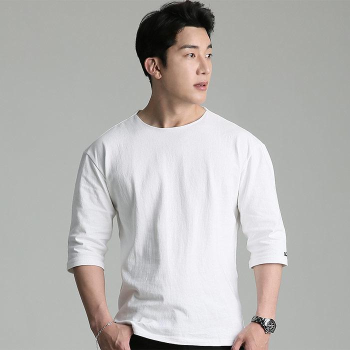 업클라스 남성용 오버핏 여름용 립넥 7부 티셔츠 b203