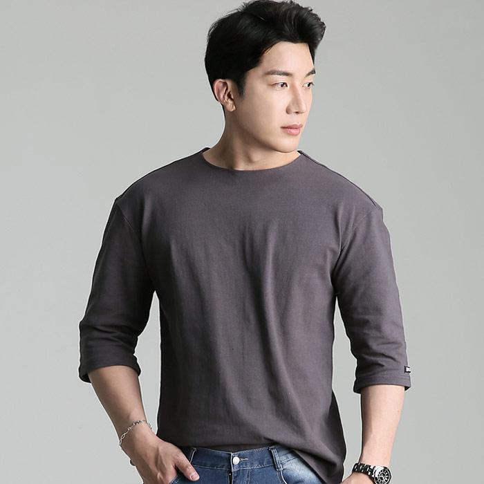 업클라스 남성용 세미 오버핏 여름용 립넥 7부 티셔츠 b203