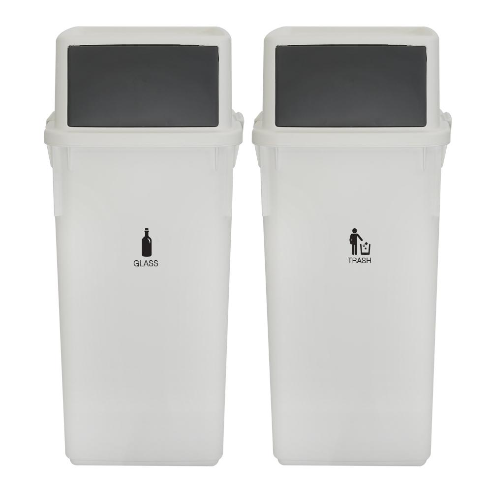 엔플라스틱 컬러빈 롱바디 분리수거함 60L, 화이트, 2개입