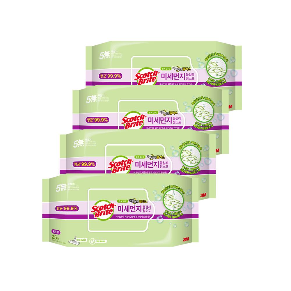 스카치브라이트 베이직 미세먼지 물걸레 더블액션 플러스 청소포 표준형 25p, 4개