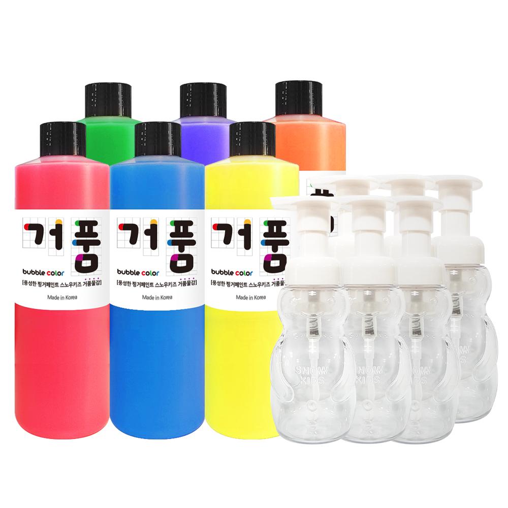 스노우키즈 핑거페인트 거품 물감, 250ml, 풀세트(핑크,블루,옐로우,그린,퍼플,오렌지)