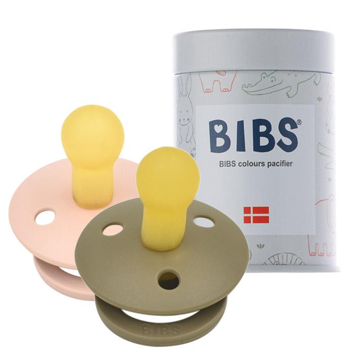 BIBS 데니쉬 공갈 젖꼭지 2p + 하드케이스, 2단계(6~18개월), 브라운, 핑크