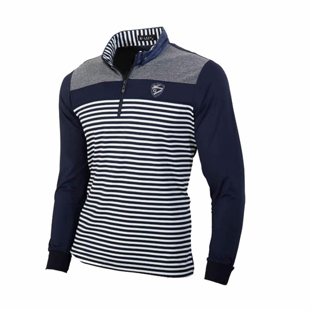 루센 남성용 이중카라 스트라이프 하프집업 골프 긴팔 티셔츠 CTLU2005, 곤색