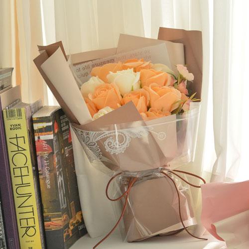 데코코마니 조화 장미 향기 비누 꽃다발 + 쇼핑백, 피치 + 옐로우
