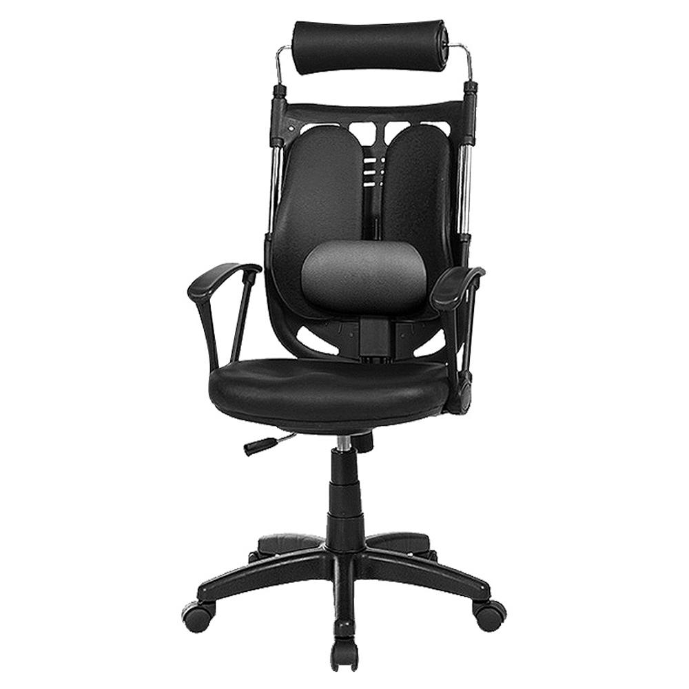 체어클럽 골드백 680 듀얼요추형 인조가죽 학생/사무용 의자, 블랙