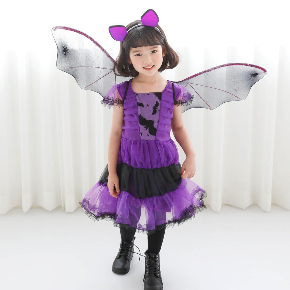 로로샤 여아용 할로윈 마녀 코스튬 윙드레스 + 헤어밴드 + 날개 세트