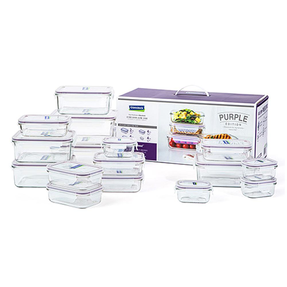 글라스락 퍼플에디션 직사각 밀폐용기 16p 선물세트, 1세트, 1900 ml 2개 + 1100 ml 4개 + 400 ml 6개 + 150 ml 4개