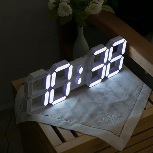 모모스 3D LED 벽시계 38cm, 화이트