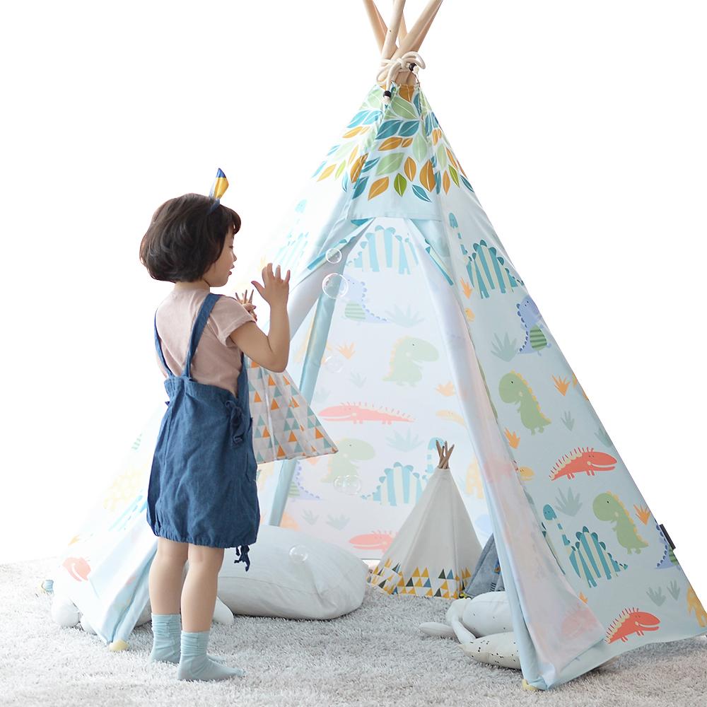 LOOKA 유아동 인디언 놀이 텐트 + LED 등 세트, 쥬라기파크