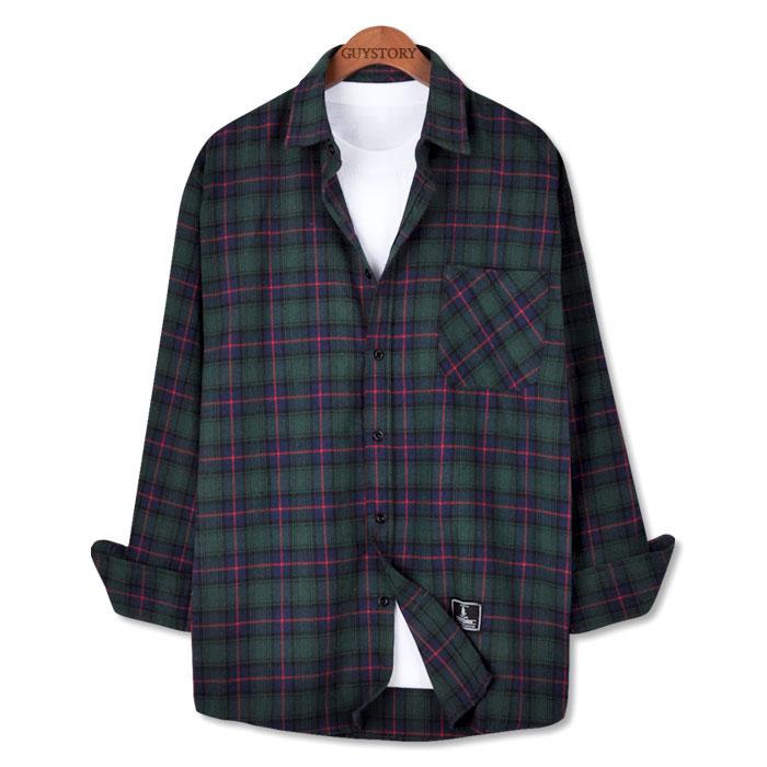가이스토리 오버핏 남자 캐주얼 가을 겨울 앰버 체크 셔츠 긴팔 남방