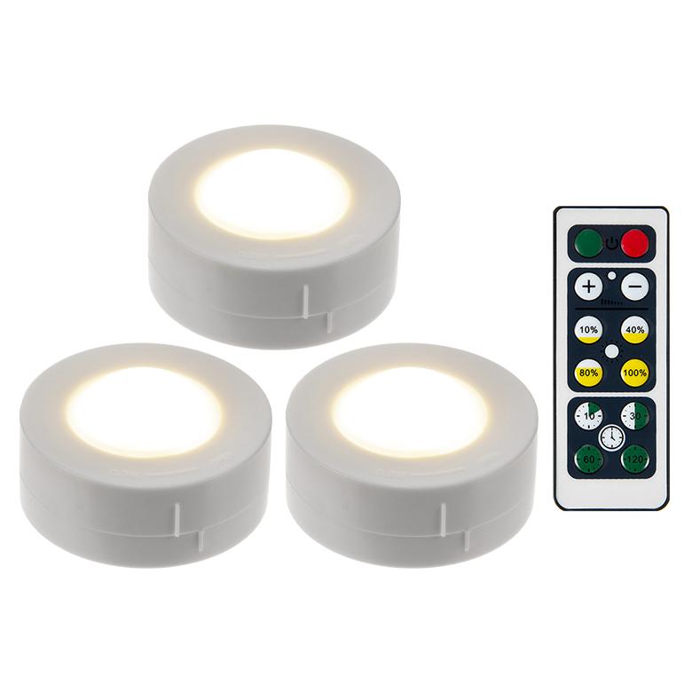 쿠팡 브랜드 - LED 퍽라이트 무드등 3p + 리모콘, 전구색