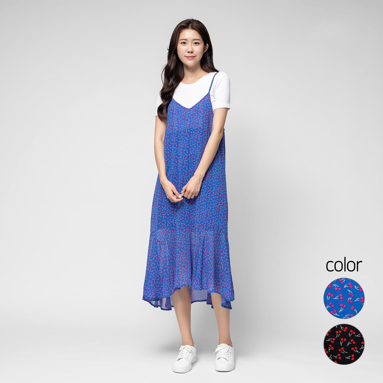 캐럿 여성 체리 패턴 스트렙 드레스