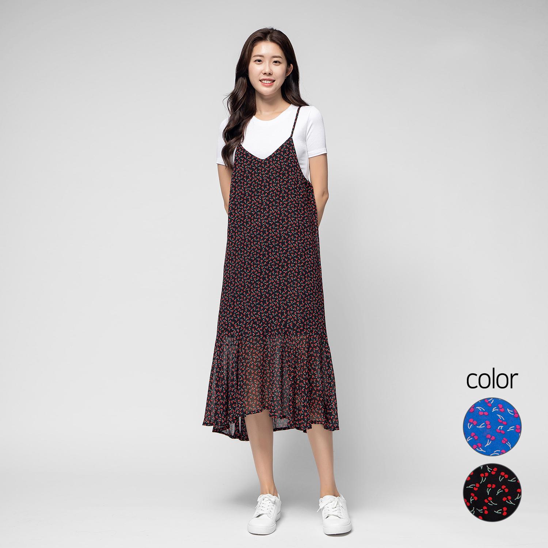 캐럿 여성 스트랩 롱 드레스