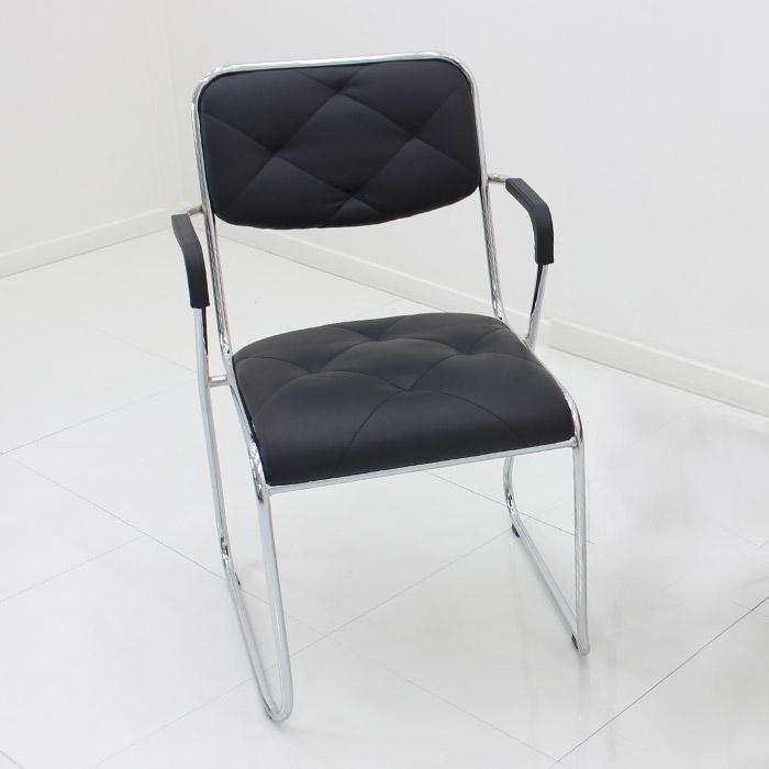 오에이데스크 팔걸이 패턴 라운딩 의자, 블랙