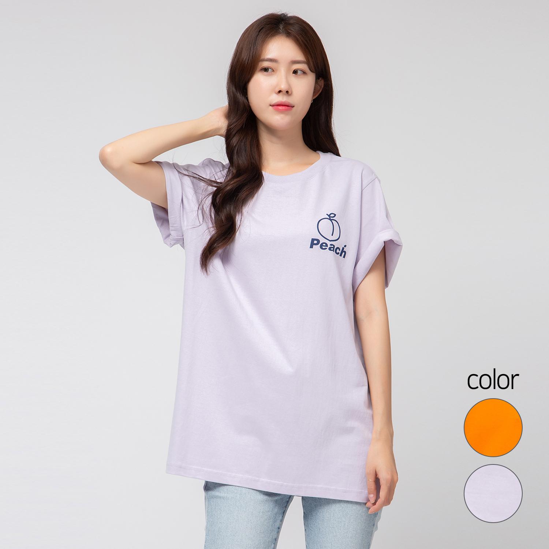 캐럿 여성용 릴렉스 핏 그래픽 티셔츠 피치