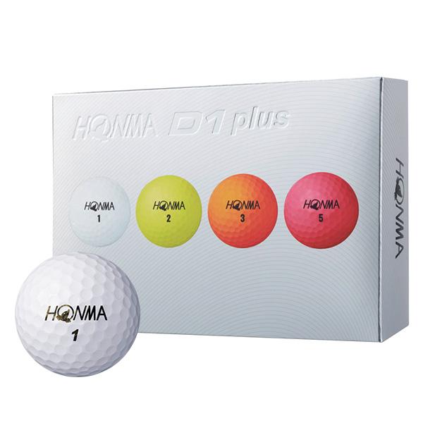 혼마 D1 PLUS 골프공 3피스 4종 x 3p 세트, 화이트, 옐로우, 오렌지, 핑크, 1세트