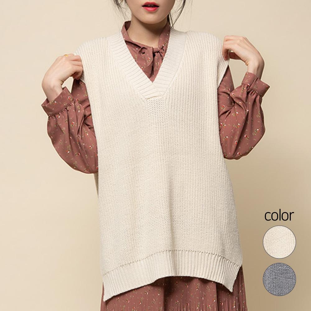 캐럿 여성용 롱 베스트 스웨터