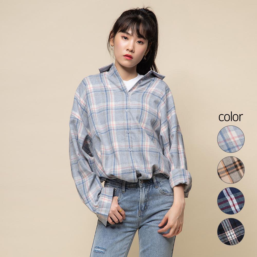 캐럿 여성 오버핏 플란넬 셔츠