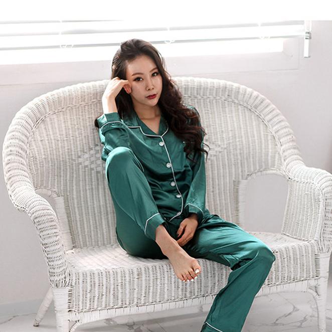 글램공감 여성용 컬러풀카라 투피스 공단잠옷