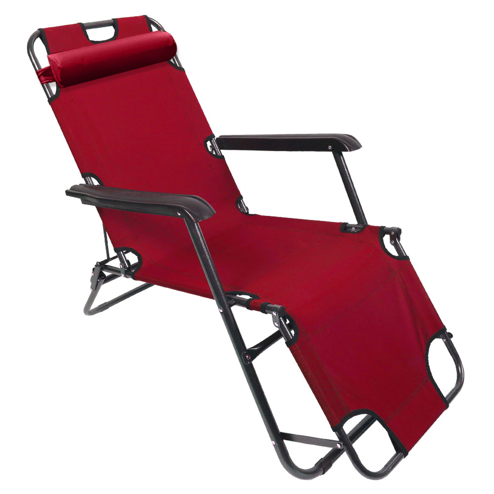 K4Camp K4 3단 접이식 침대 캠핑 낚시 의자, 레드, 1개