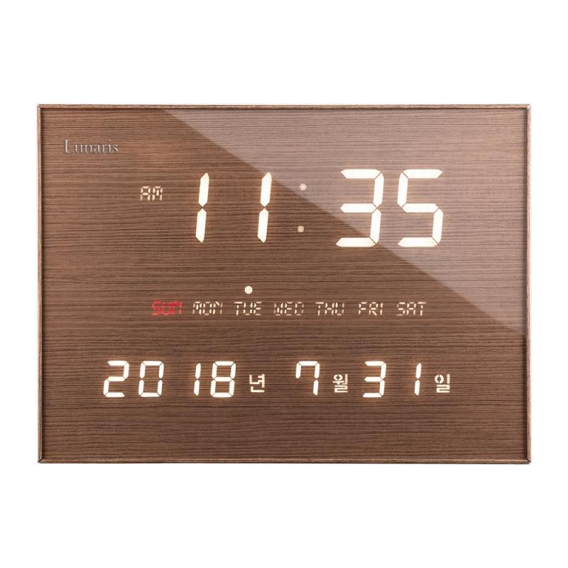 루나리스 FM수신 LED 전자벽시계, 월넛브라운