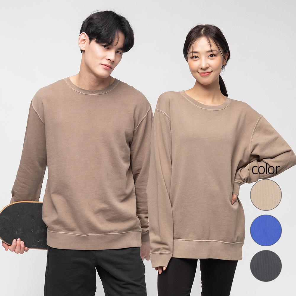 캐럿 남녀공용 릴렉스핏 가먼트다잉 맨투맨 티셔츠