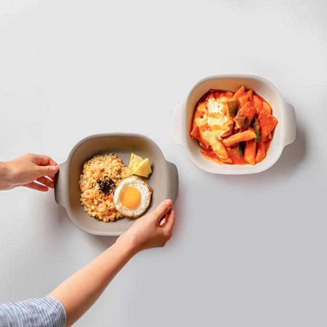 나인웨어 프렌즈 사각 샐러드볼 아이보리 + 그레이, 혼합 색상, 1세트