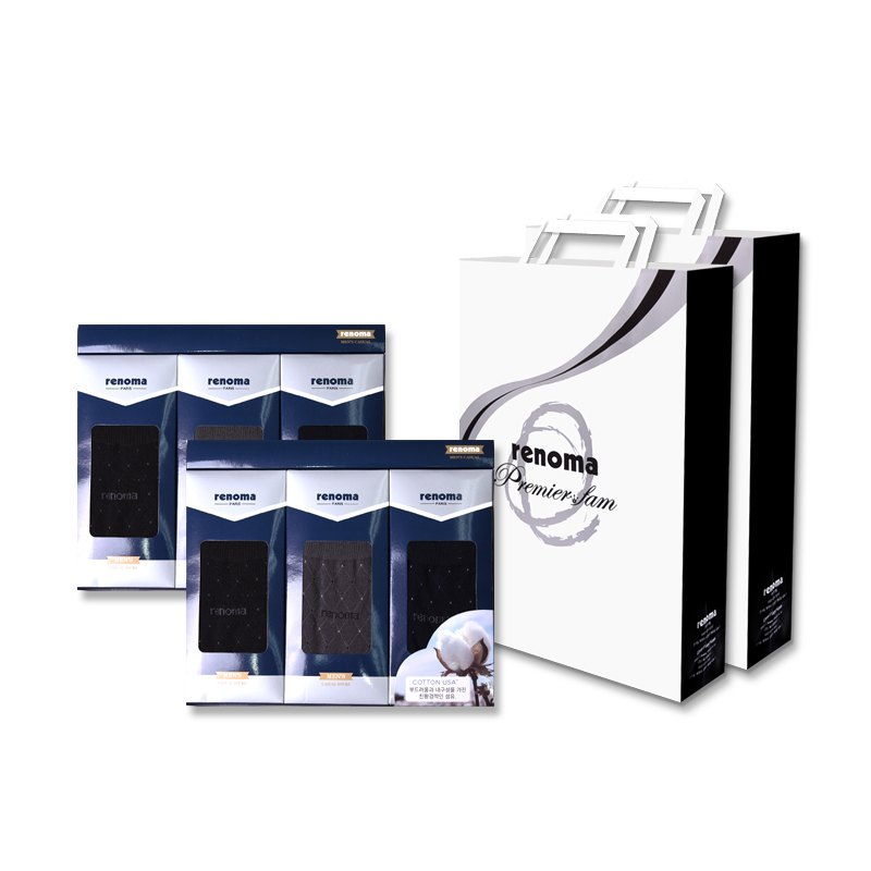 레노마 남성용 캐쥬얼 이색 도트 양말 3족 선물세트 2세트 + 쇼핑백