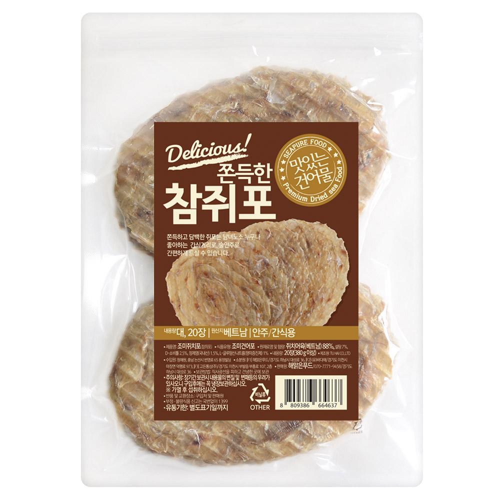 해맑은푸드 쫀득한 참쥐포 대, 380g이상, 1개