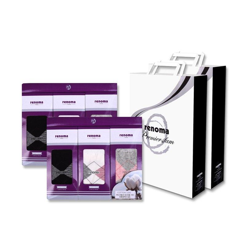 레노마 여성용 캐쥬얼 다이아 양말 3족 2세트 + 쇼핑백